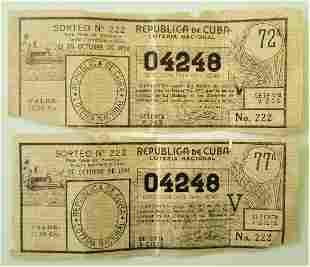 Two Old Lottery Tickets Cuba 1958