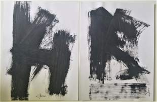 Set of 2 Abstract Painting Signed