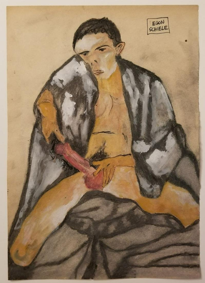 Egon Schiele Mixed Technique On Paper