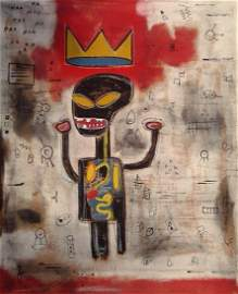 Jean-Michel Basquiat Painting in the manner of