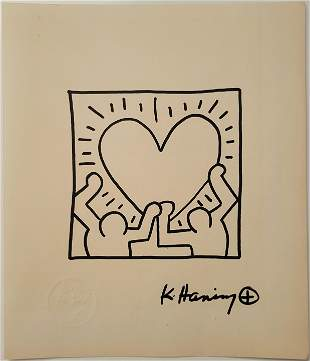 Keith Haring oil marker in the manner of