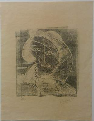 Pablo Picasso Block Print in the manner of.