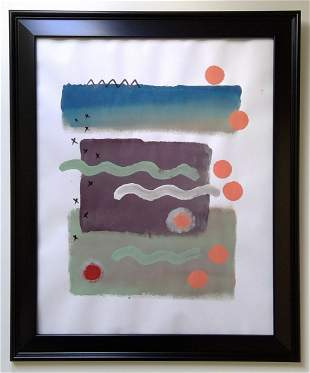Abstract Acrylic Painting on Paper Framed.