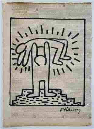 Keith Haring Painting on Paper.