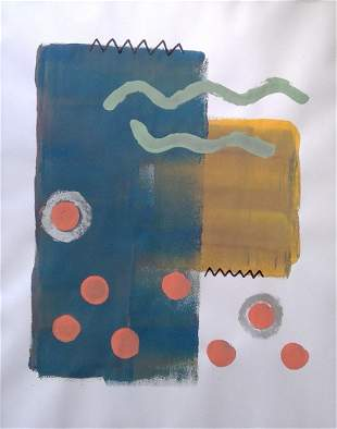 Abstract Mixed media Painting on Paper.