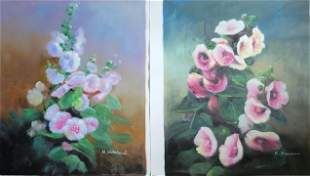 Set of 2 Oil Paintings on Canvas.