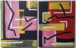 Set of 2 Abstract Painting on Canvas Signed.