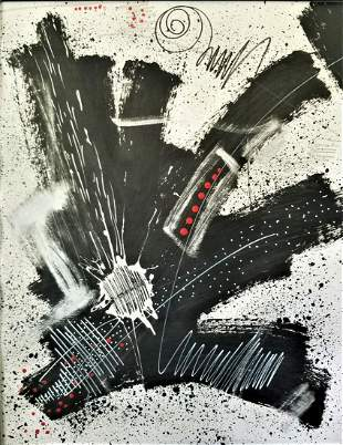 Contemporary abstract acrylic painting on paper.