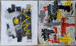 Set of 2 Contemporary Painitngs on Paper.