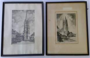 Set of Two Vintage Etching reproduced in TALIO-CROME