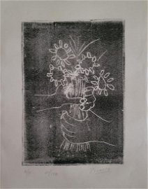 Pablo Picasso Block Print on paper.