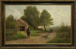 BENJAMIN COHEN Farm Scene 19th C. Oil on canvas