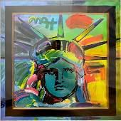 """PETER MAX Mixed Media -"""" Liberty Head V"""""""