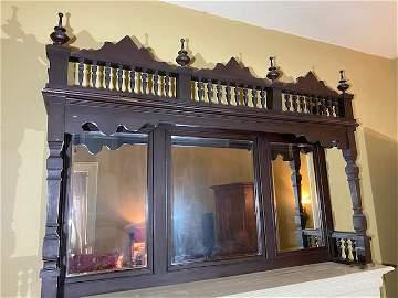 Victorian wooden over- mantle bevaled 3 paneled glass