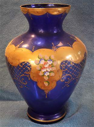 Large glass hand painted vase
