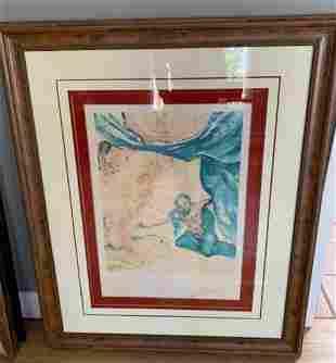 "SALVADOR DALI Lithograph ""Adam and Eve - The Garden of"