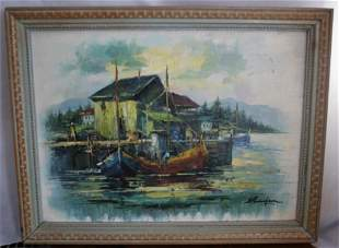 Vintage oil painting on canvas Listed - A. SIMPSON
