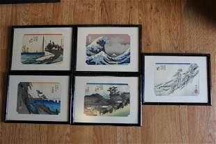 Set of 5 vintage mini Japanese wood block prints