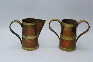 Pair of Copper Pitcher and Cup with handles