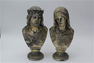 Jesus Christ & Virgin Mary Gilt Metal Busts Vintage