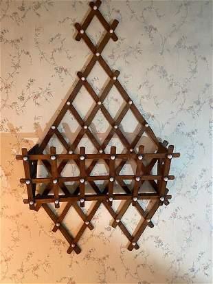 Antique tramp art diamond shaped lattice wall pocket