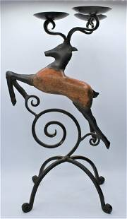 Folk Art Stag Candle Holder - Wrought Iron & Wood