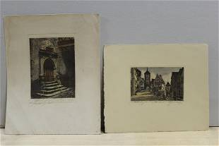 Lot of 2 Color Etchings - Village Scene