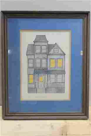 Chestnut Street Victorian Etching by Jonathon Talbot