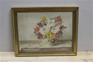 E.F. Goodwin Flower Vase Watercolor Painting