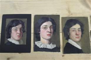 Lot of 7 - Woman Portrait Paintings