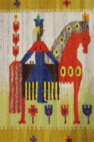 Vintage Kilim Hand Woven Rug by Maria Domanska - Poland