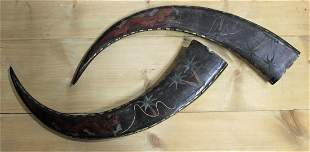 Set of Two Hand Carved Vintage Decorative Bull Horns