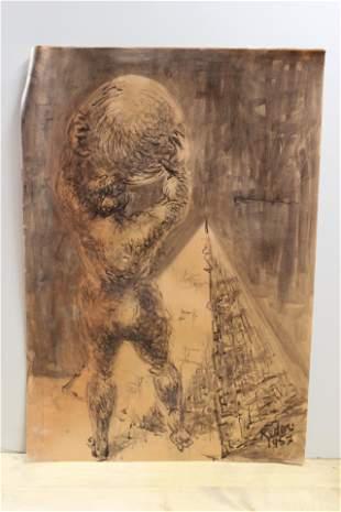 Bernard Reder Ink and Wash Figure Holding a Sphere