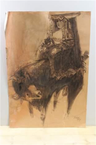 Bernard Reder Bride & Bull Ink and Wash
