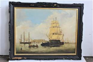 """American School, Late 19th Century """"Whaling ships off"""