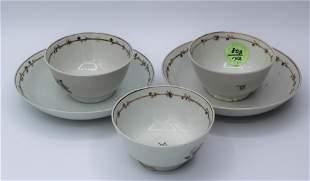 Chinese Export Porcelain Tea Set - 3 Cups & 2 Saucers