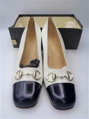 Gucci Leather Navy/White Heels