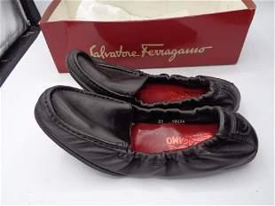 Ferragamo New Heavan Black Leather Flats