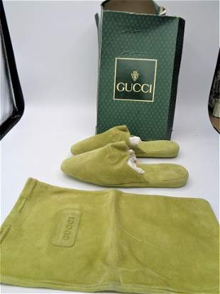 Vintage GUCCI Green Slippers