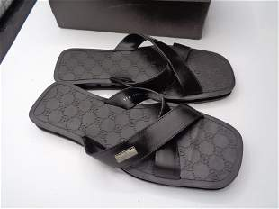 Mens Gucci Rubber and Leather Sandals