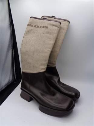 Women's PRADA Boots - Canvas & Leather