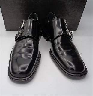 Gucci Men's Leather Black Shoes with Buckles