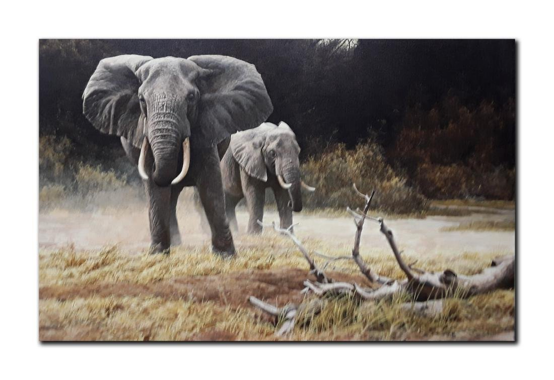 "Robert Bateman's ""Elephant, Cow And Calf"" Limited"