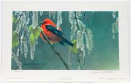 """Robert Bateman's """"Scarlet Tanager and Alder Blossoms"""""""
