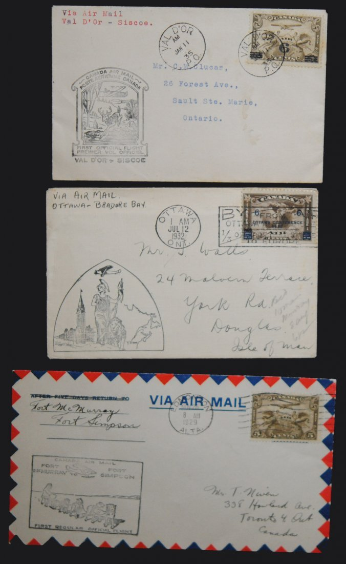 Canada 3 Air Mail Covers From 1929, 1932 and 1935