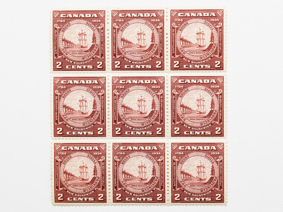 Canada New Brunswick 1934 2c Block of 9 VF MNH