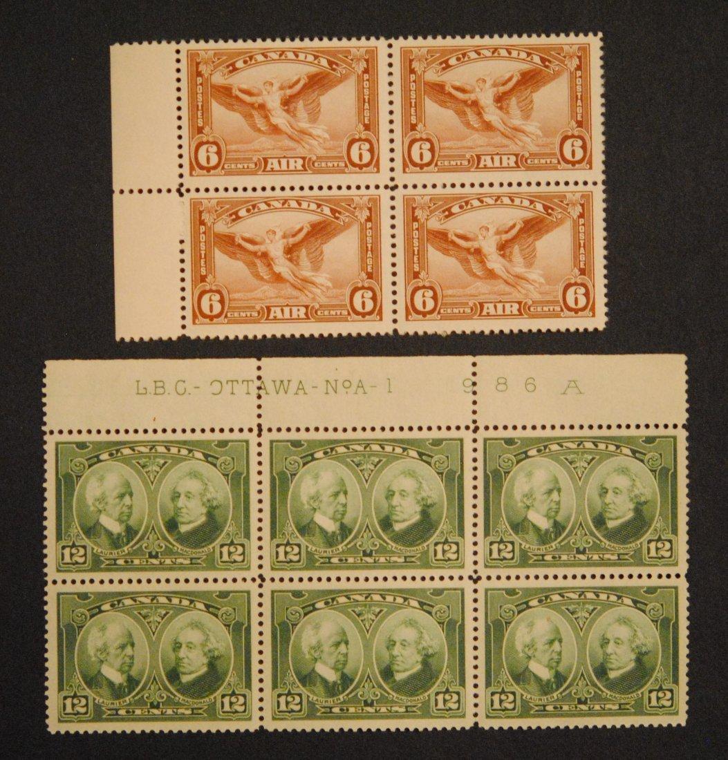 Canada 12c Block of 6 S/C #147, 6c Block of 6 Air S/C