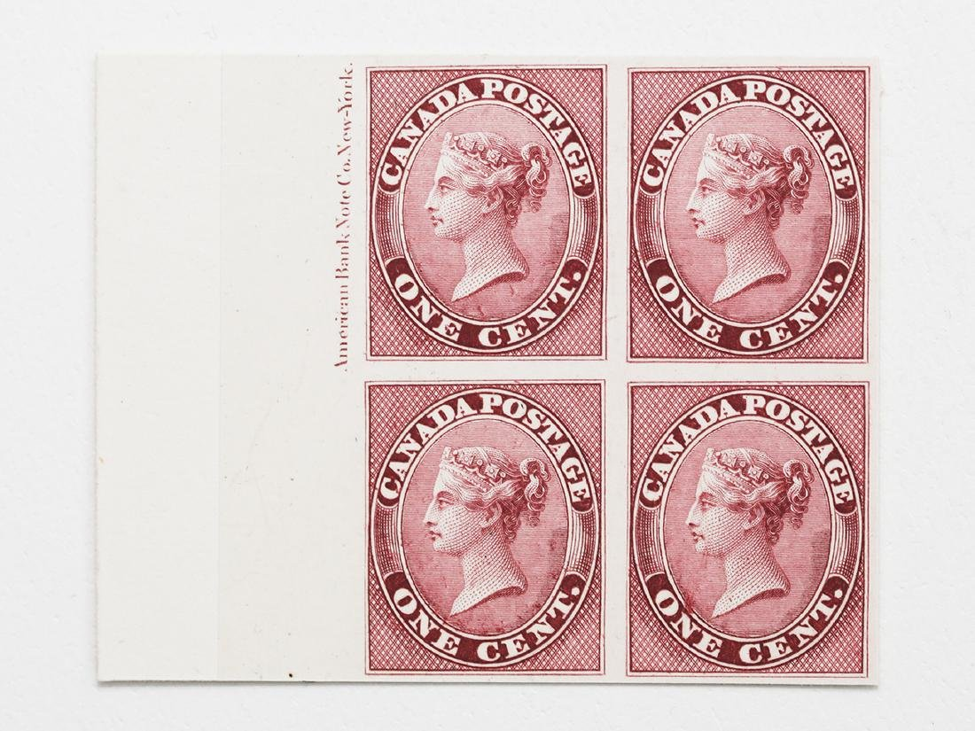 Canada- 1859-67 1c S/C #14P Rose MNH Block of 4