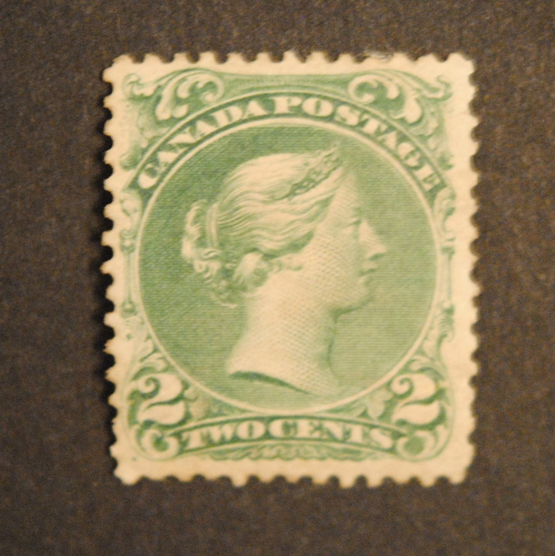 "Canada 1868 2c Green ""Large Queen"" S/C #24 MH VF OG"