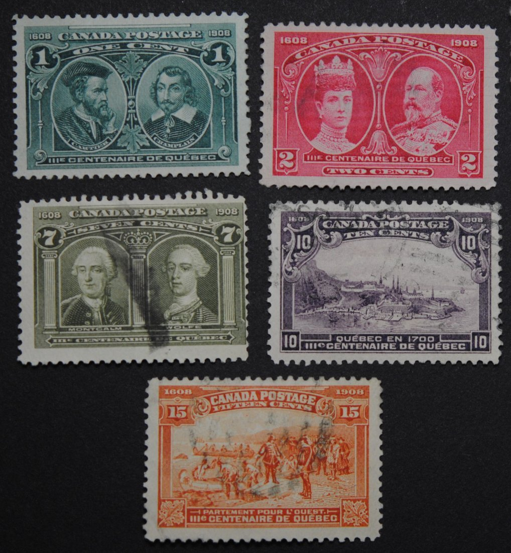 Canada 1908 Quebec Tercentary Issue 5 Stamp Collection